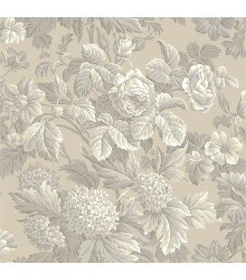 Rice paper for furniture decoration: Flowers in beige color