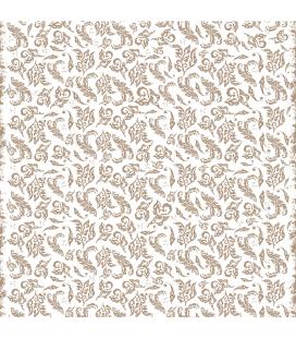 Carta di riso per il decoro del mobile: Foglie stilizzate in tinta beige