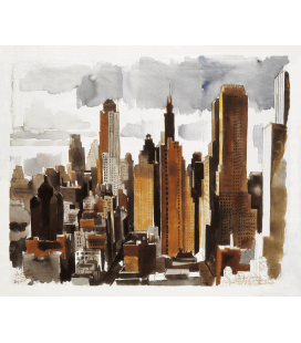 Vilmos Aba-Novák - New York. Printing on canvas