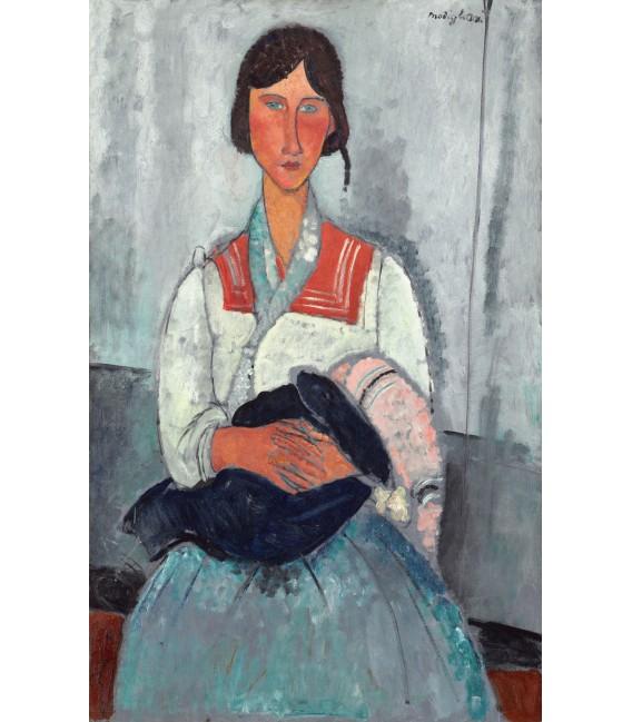 Stampa su tela: Amedeo Modigliani - Donna Zingara con il bambino