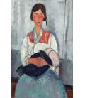 Amedeo Modigliani - Donna Zingara con il bambino. Stampa su tela