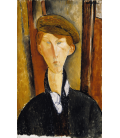Amedeo Modigliani - Giovane uomo col cappello. Stampa su tela