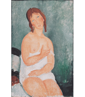 Stampa su tela: Amedeo Modigliani - Junge Frau im Hemd