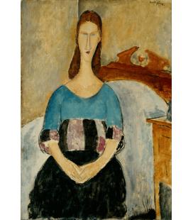 Stampa su tela: Amedeo Modigliani - Portrait of Jeanne Hebuterne