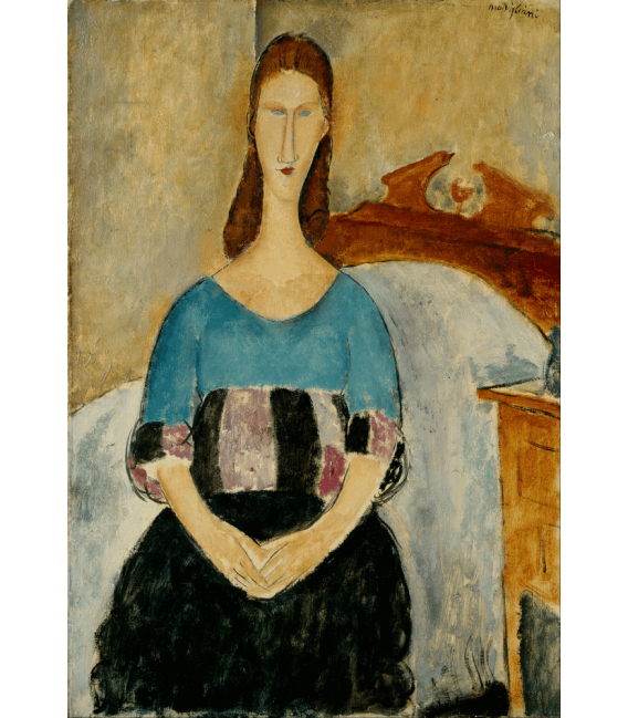 Stampa su tela: Amedeo Modigliani - Ritratto di Jeanne Hébuterne, Seduta