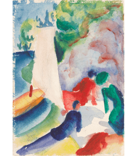 Stampa su tela: August Macke - Picnic on the Beach (Picnic after Sailing)