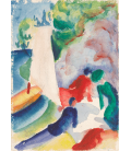 Printing on canvas: August Macke - Picnic on the Beach (Picnic after Sailing)