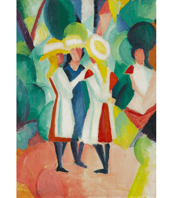 Printing on canvas: August Macke - Three girls in yellow straw hats