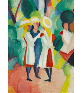 Stampa su tela: August Macke - Three girls in yellow straw hats I