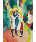 Stampa su tela: August Macke - Three girls in yellow straw hats I