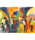 August Macke - Under the arbors of Thun. Printing on canvas