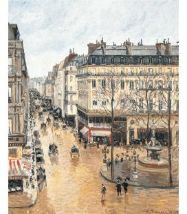 Stampa su tela: Camille Pissarro - Rue Saint-Honoré, dans l'après-midi. Effet de pluie