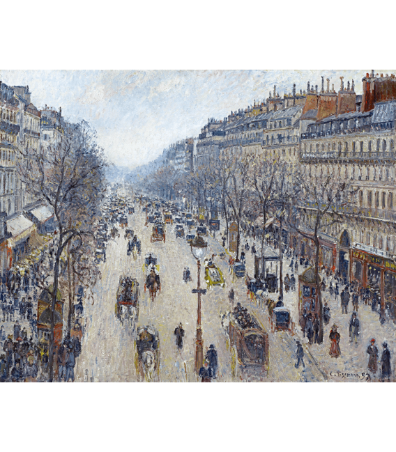 Stampa su tela: Camille Pissarro - Boulevard Montmartre, morning, cloudy weather