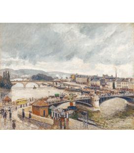 Stampa su tela: Camille Pissarro - Pont Boieldieu y pont corneille ruan efecto de lluvia