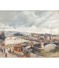 Camille Pissarro - Ponte Boieldieu e Ponte Corneille a Rouen. Effetto pioggia. Stampa su tela