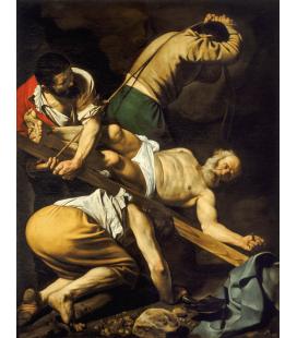 Caravaggio - Crocifissione di San Pietro. Stampa su tela