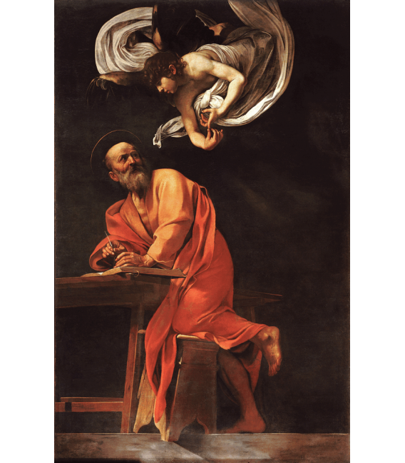 Stampa su tela: Caravaggio - L'ispirazione di San Matteo