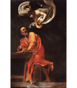 Caravaggio - The Inspiration of Saint Matthew. Printing on canvas