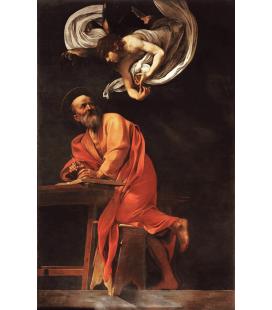 Caravaggio - L'ispirazione di San Matteo. Stampa su tela