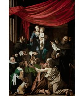 Caravaggio - Madonna del Rosario. Stampa su tela