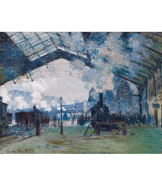 Stampa su tela: Claude Monet - Arrivo del treno di Normandia, stazione Saint-Lazare