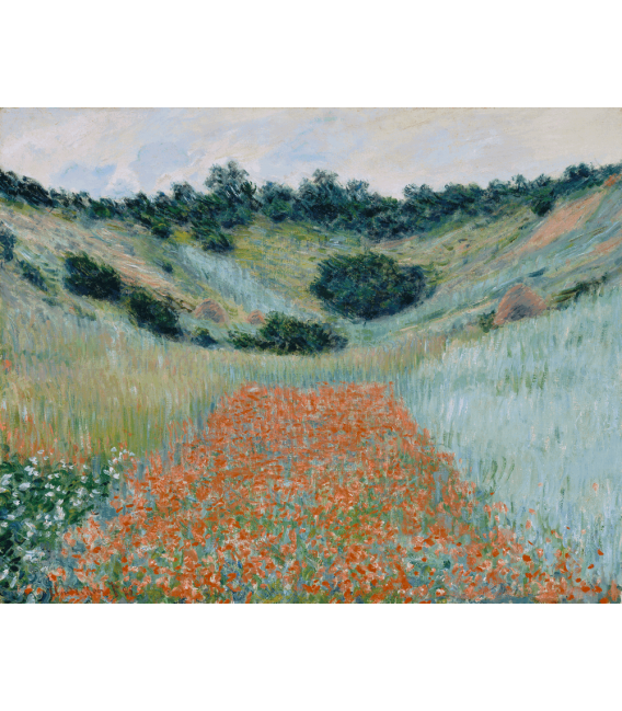 Printing on canvas: Claude Monet - Field of Poppies in a valley near Giverny
