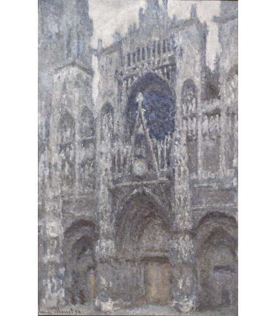 Stampa su tela: Claude Monet - Cattedrale di Rouen, il portale, tempo grigio