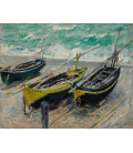 Claude Monet - Etretat, three fishing boats. Printing on canvas
