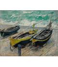 Claude Monet - Etrétat, tre barche da pesca. Stampa su tela