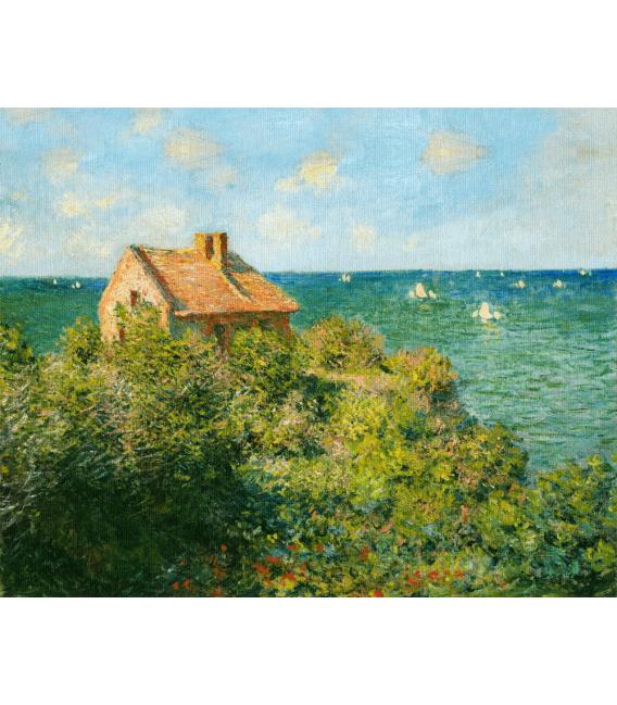 Stampa su tela: Claude Monet - La casa del pescatore sugli scogli