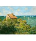 Claude Monet - La casa del pescatore sugli scogli. Stampa su tela