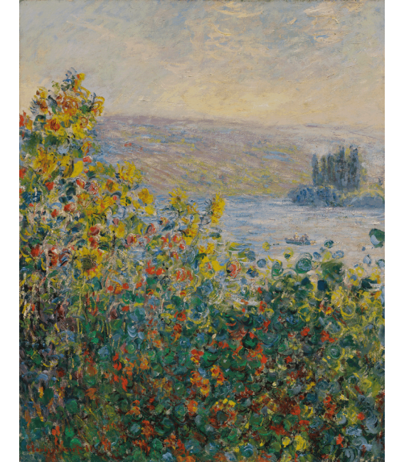 Stampa su tela: Claude Monet - Letto di fiori a Vétheuil
