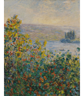 Claude Monet - Letto di fiori a Vétheuil. Stampa su tela