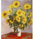 Claude Monet - Mazzo di Girasoli. Stampa su tela