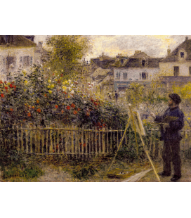 Claude Monet - Monet in his Garden at Argenteuil. Printing on canvas