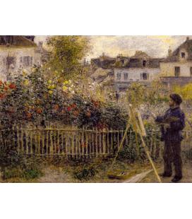 Claude Monet - Monet nel suo giardino di Argenteuil. Stampa su tela