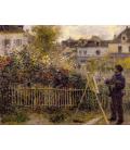 Stampa su tela: Claude Monet - Monet nel suo giardino di Argenteuil