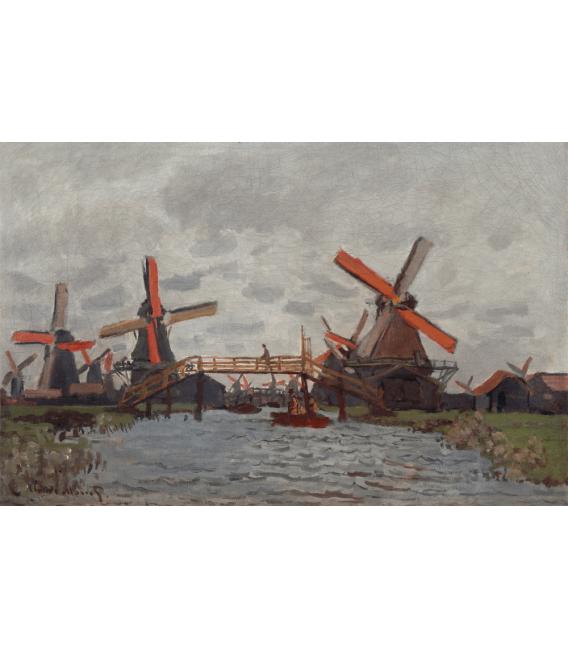 Stampa su tela: Claude Monet - Mulini a Westzijderveld vicino Zaandam