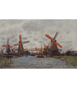 Claude Monet - Mills in the Westzijderveld near Zaandam. Printing on canvas