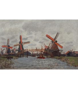 Claude Monet - Mulini a Westzijderveld vicino Zaandam. Stampa su tela
