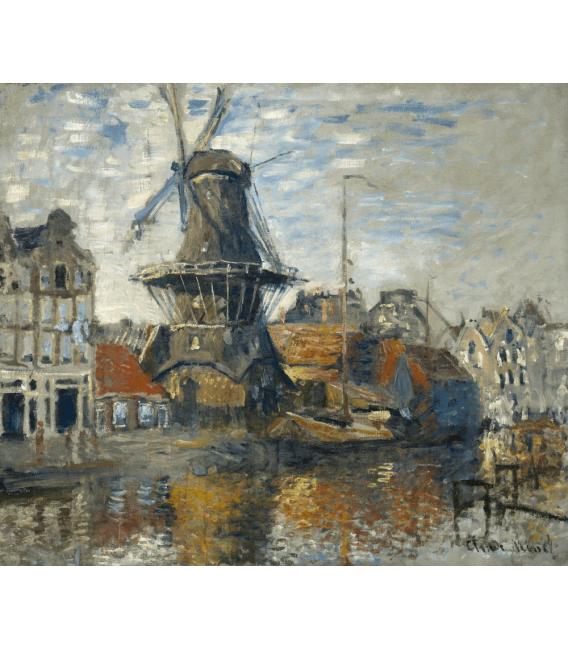 Stampa su tela: Claude Monet - Mulino a vento, Onbekende Gracht, Amsterdam