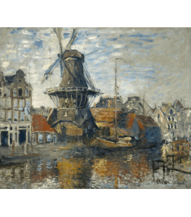 Claude Monet - Mulino a vento, Onbekende Gracht, Amsterdam. Stampa su tela