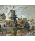 Claude Monet - Windmill, Onbekende Gracht, Amsterdam. Printing on canvas