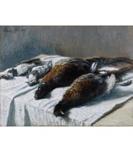 Claude Monet - Natura morta con fagiani e pivieri. Stampa su tela