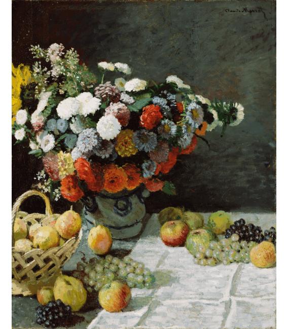 Stampa su tela: Claude Monet - Natura morta con fiori e frutta