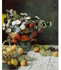 Claude Monet - Natura morta con fiori e frutta. Stampa su tela
