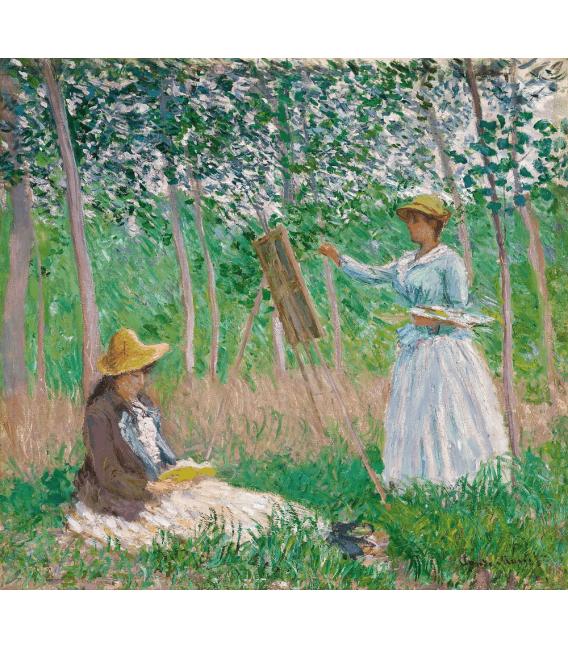 Stampa su tela: Claude Monet - Nei boschi a Giverny, Blanche Hoschedé al cavalletto con Suzanne Hoschedé che legge