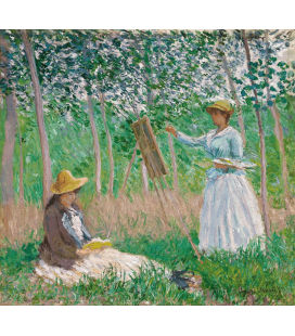 Claude Monet - In the woods in Giverny, Blanche Hoschedé to stand with Suzanne Hoschedé that reads. Printing on canvas
