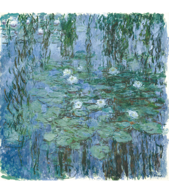 Printing on canvas: Claude Monet - Waterlilies (Blue)