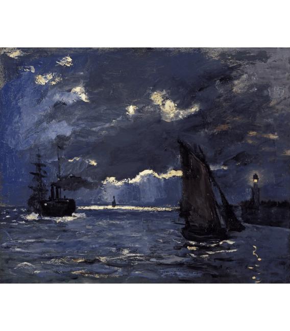 Stampa su tela: Claude Monet - Paesaggio marino con nave al chiaro di luna